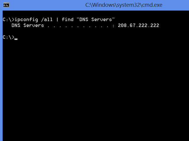 Ipconfig showing only the primary DNS server