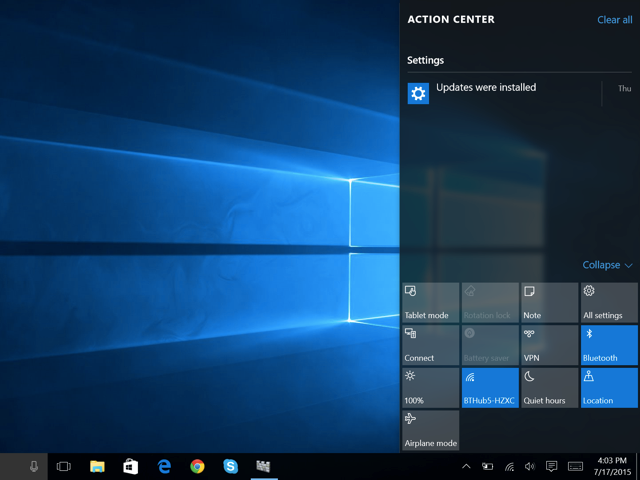 Windows 10's Action Center with notifications and shortcuts.