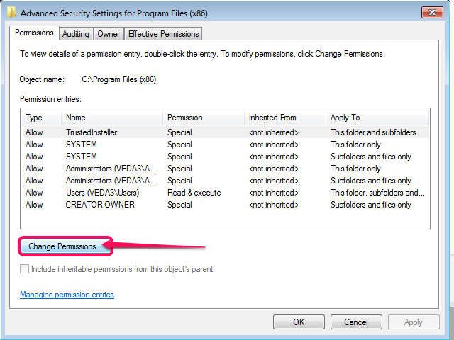 The Permissions window (Windows 7).