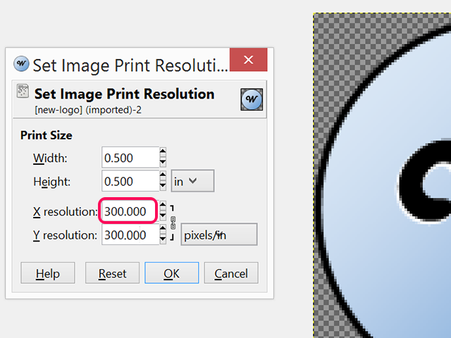 Change the X and Y resolution values.
