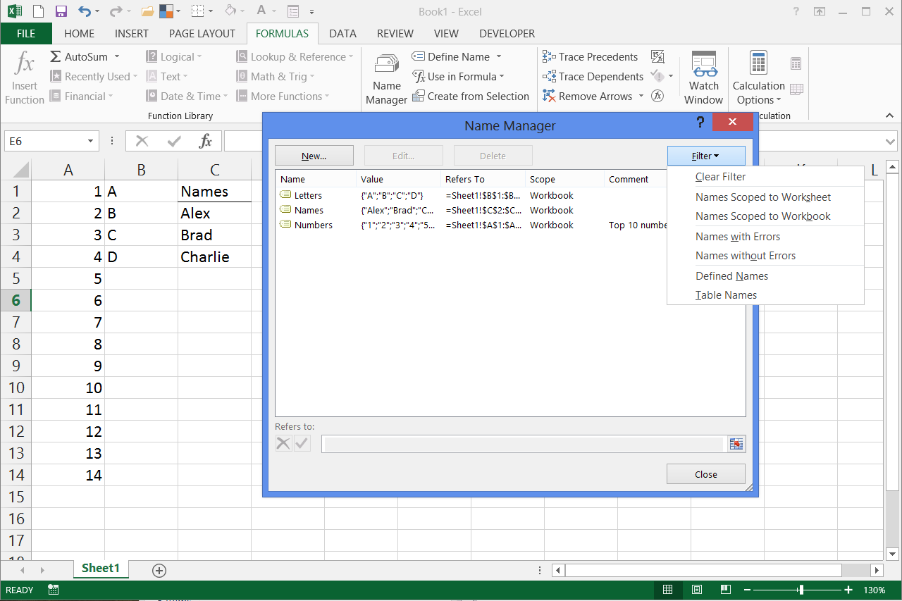 how to create a range name in excel