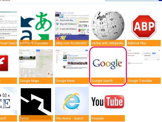Google Search add-on on the Internet Explorer Gallery website.