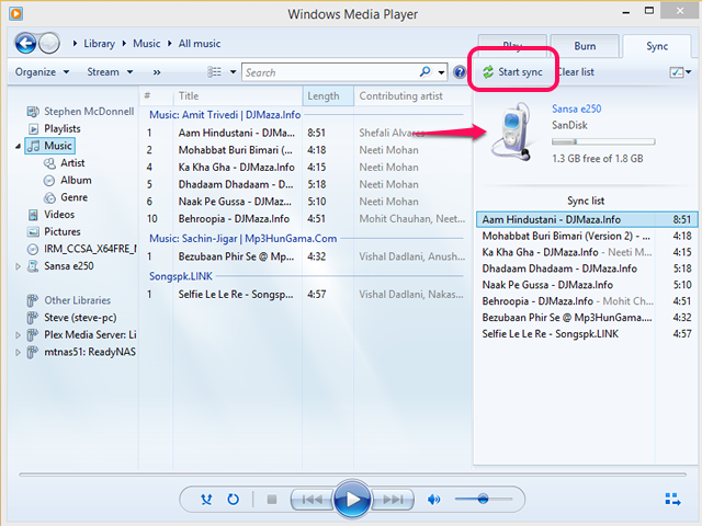 Sync to MP3 Player