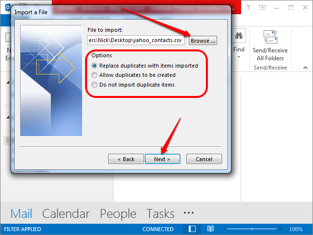 Selecting the CSV file and changing the import options.
