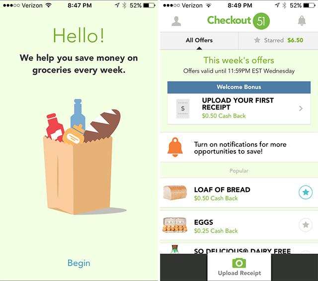Screenshot of Checkout51 app