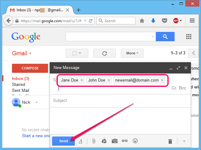 Inserting several contacts and email addresses into the recipients field.