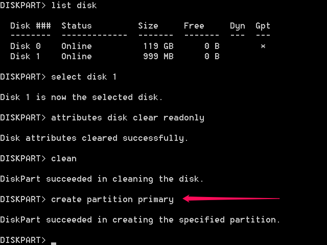 Type create partition primary.