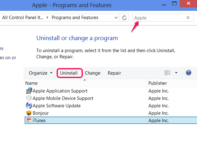Search for Apple in Programs and Features to find all the components.
