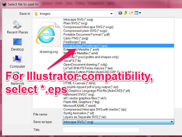 The Encapsulated PostScript (*.eps) option is in the first half of the file type popup menu
