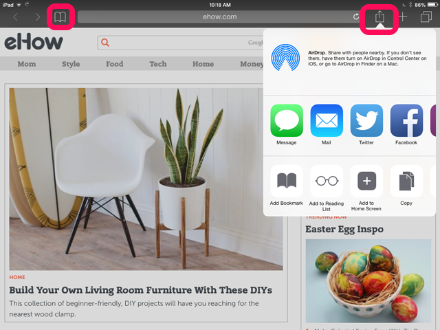 how to delete saved bookmarks on ipad