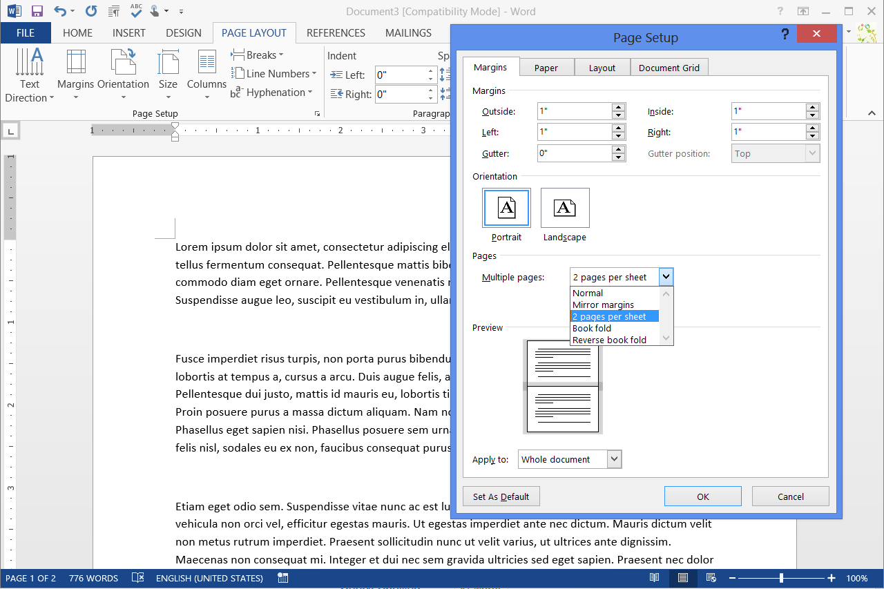 How to create half fold documents in word techwallacom for How to make a half page flyer in word