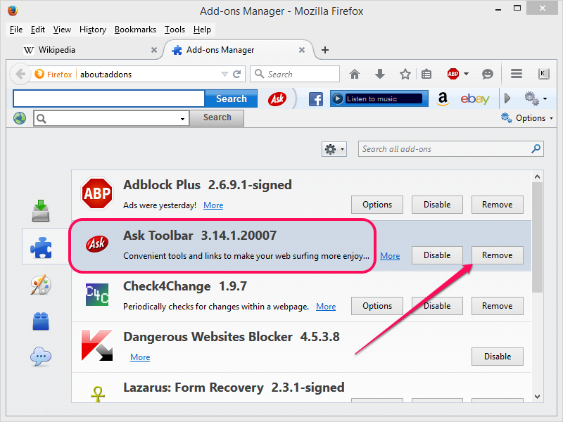 Clicking Remove to remove the Ask toolbar.