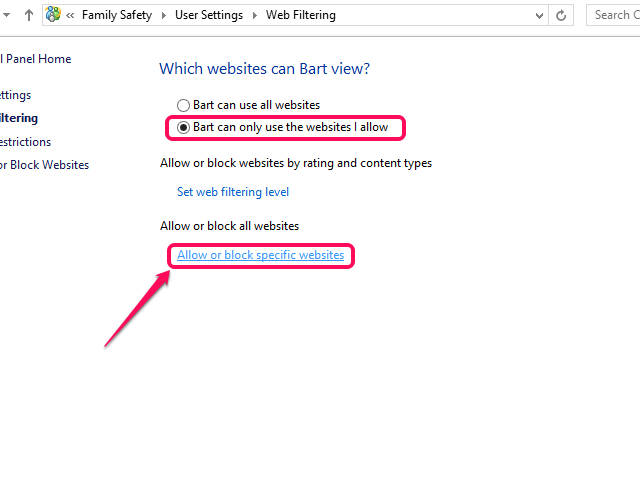 Click Allow or Block Specific Websites.