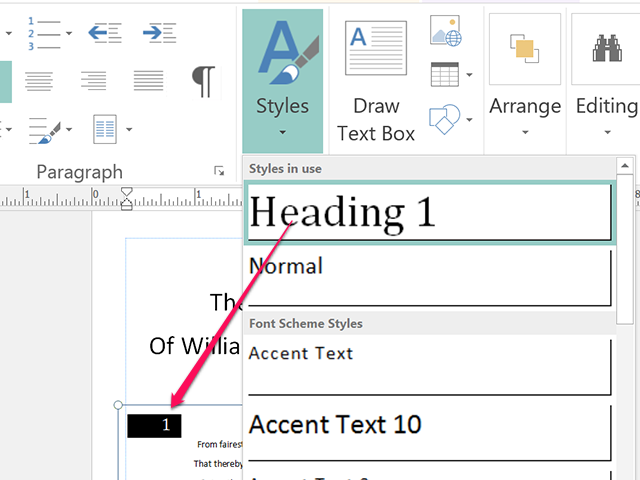 Apply Style changes to headings or other sections of the booklet.
