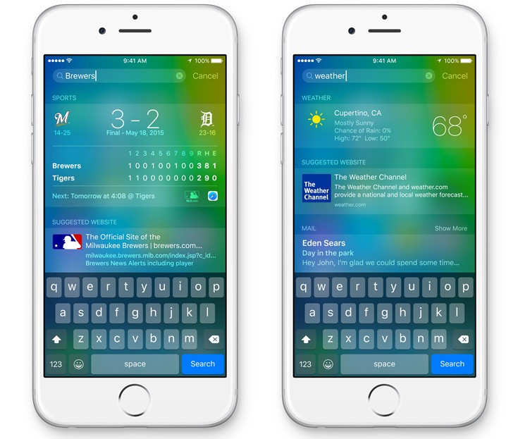 Search on iOS 9