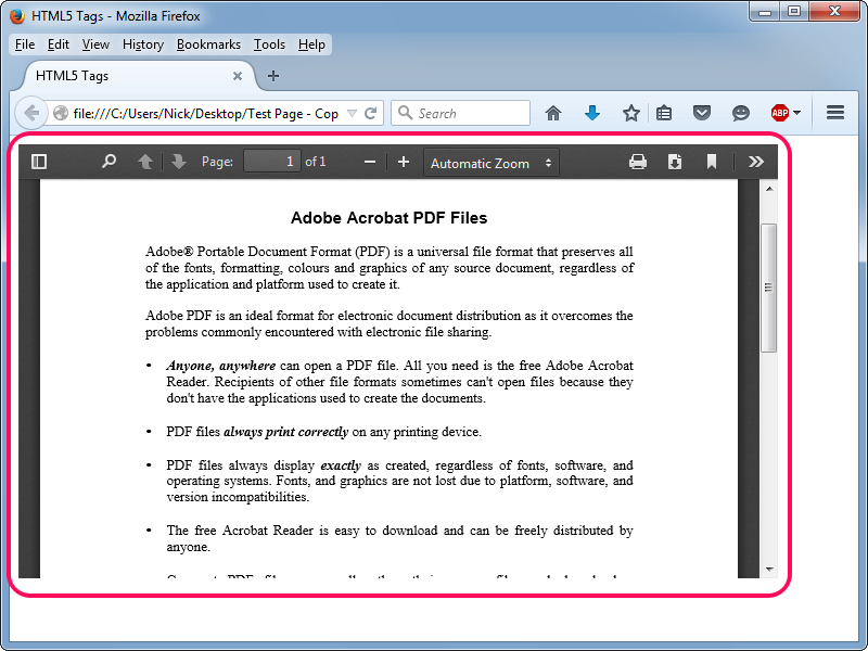 An embedded PDF in a Web page in Firefox.