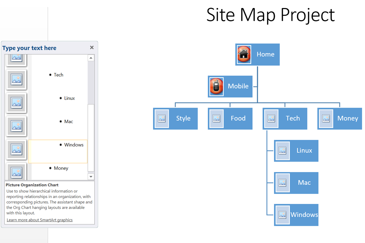how to make a site map on microsoft word