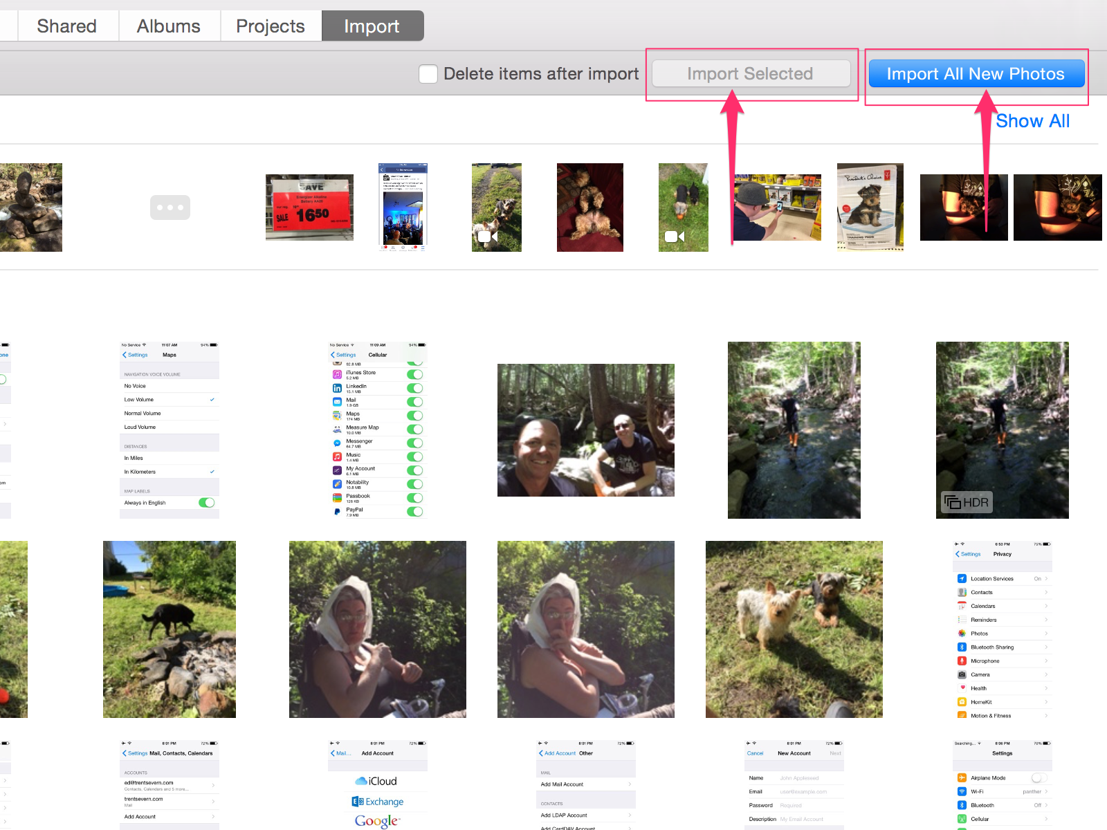 Select and transfer your photos