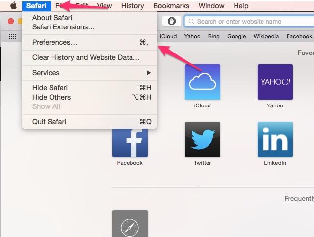 Click Preferences in the Safari menu