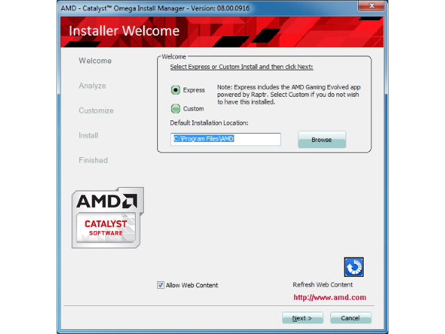 The installation program window is titled AMD - Catalyst Omega Install Manager, gives you an option to choose Express or Custom installation, allows you to select the installation location, and provides Next and Cancel buttons