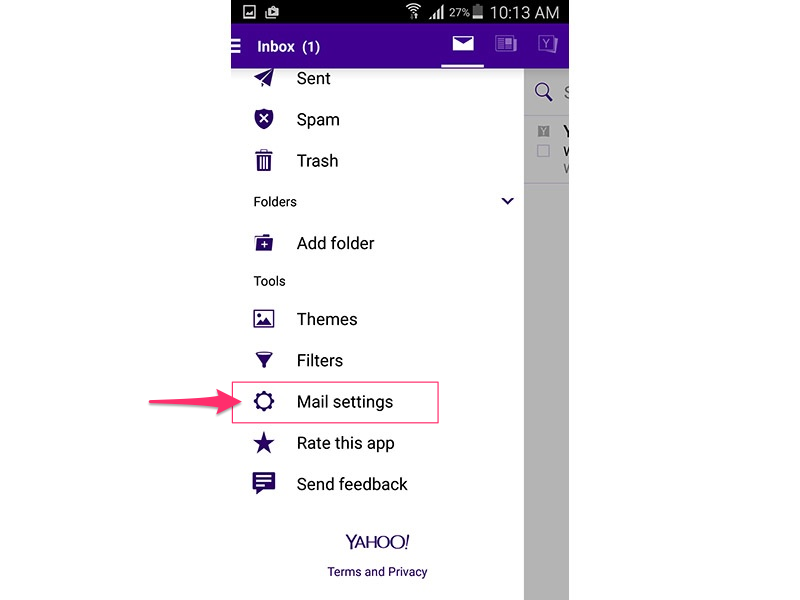Yahoo Mail app (Android 5.0)