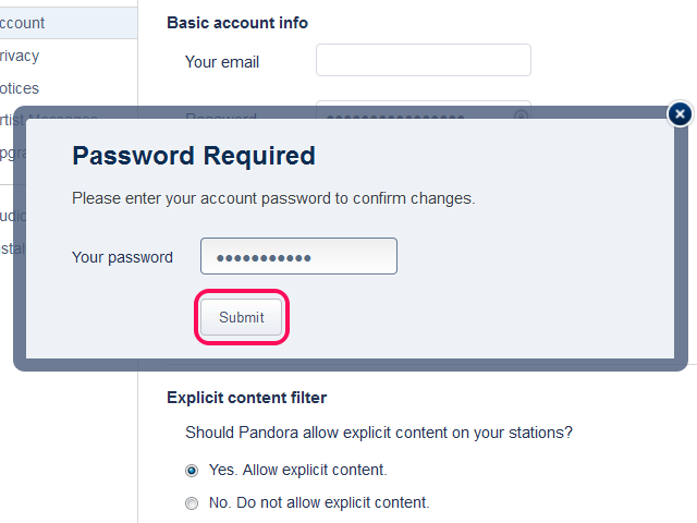 Entering old password