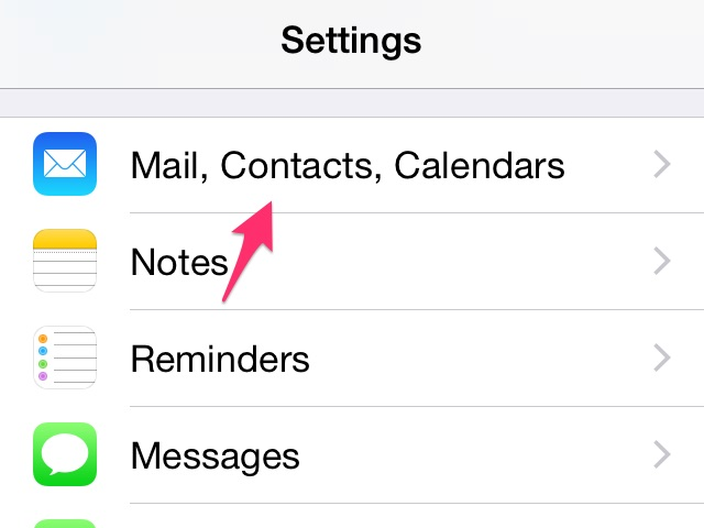 Tap the Mail, Contacts, Calendars button