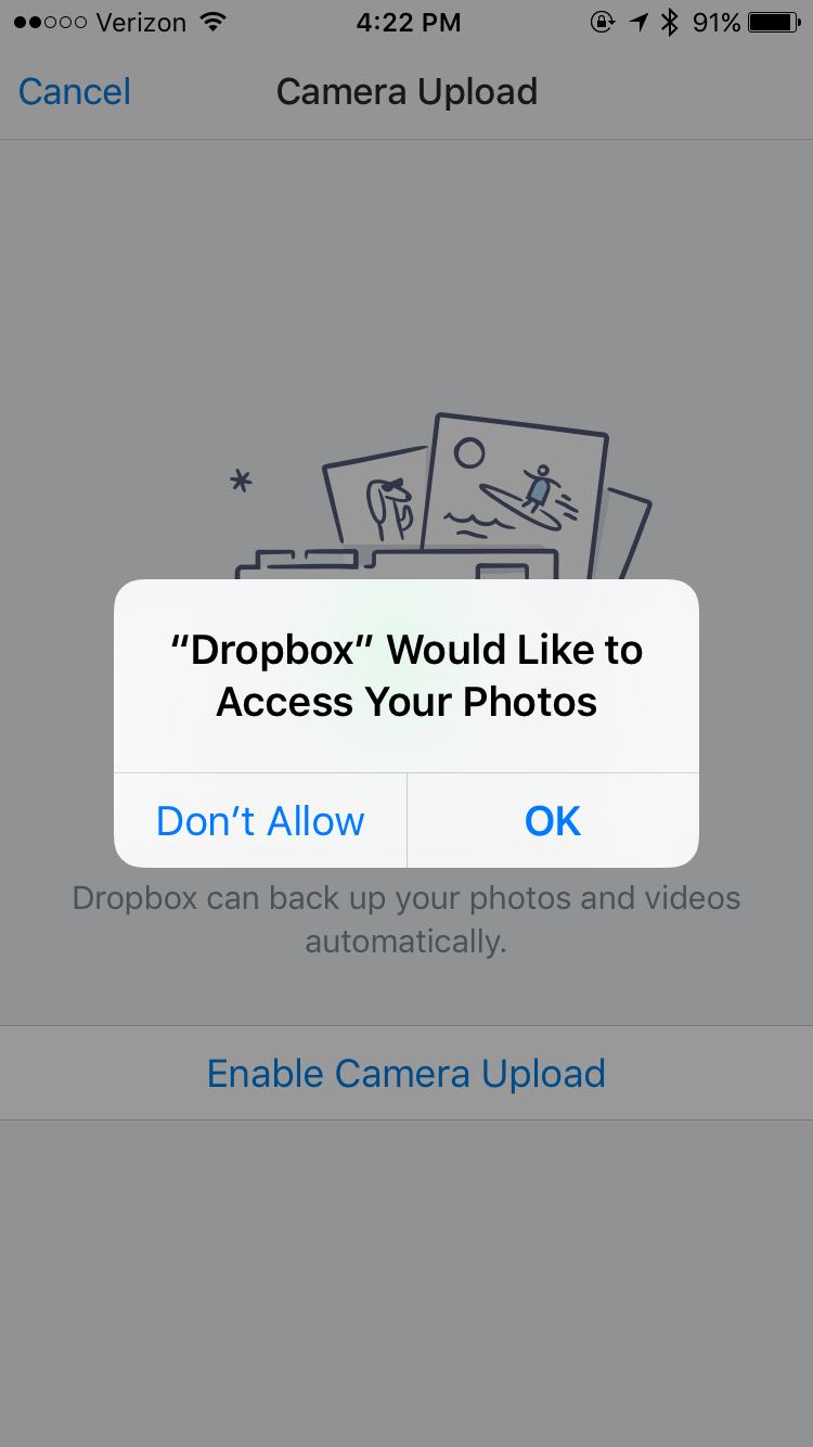 Dropbox photo access
