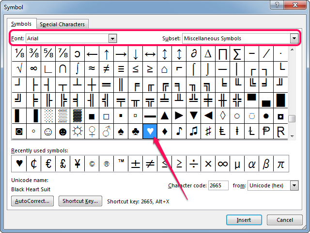 Inserting a heart symbol in Microsoft Word.