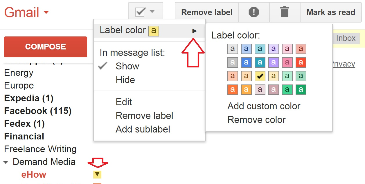 To choose a label color, select the arrow next to the label name and choose 'Label color'.