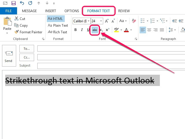 how to change the text in outlook