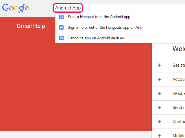 Gmail Help home page.