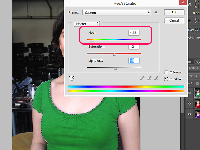Drag the Hue slider to the color indicated to adjust it.