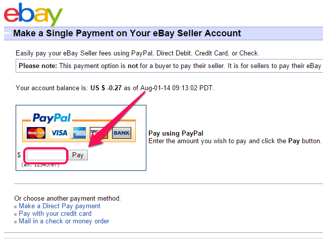 One-time Payment page.