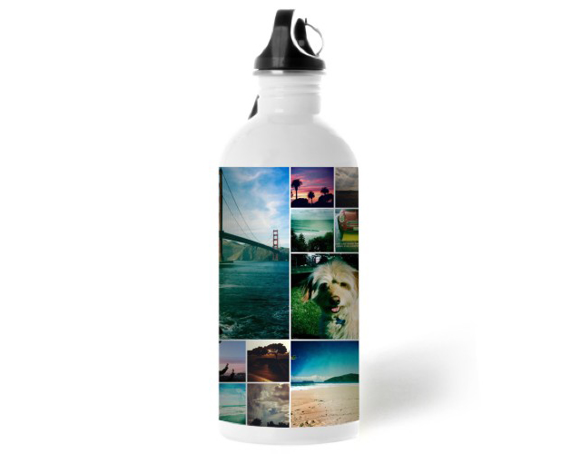 Shutterfly Collage Square Water Bottle is a unique photo gift for dad