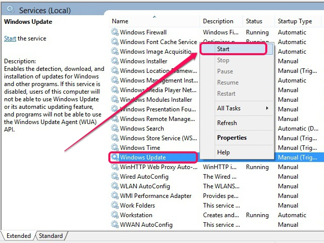 Windows Update resumes activity.