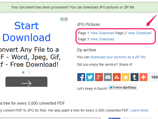 Download your JPG file or files.