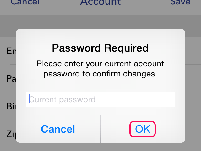 Confirming with old password