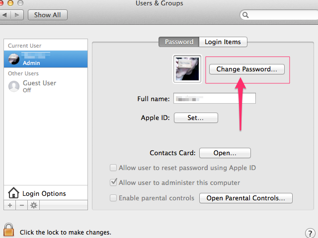 Users & Groups prompt (Apple)