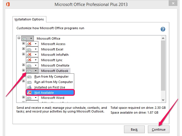 The Outlook installation options.