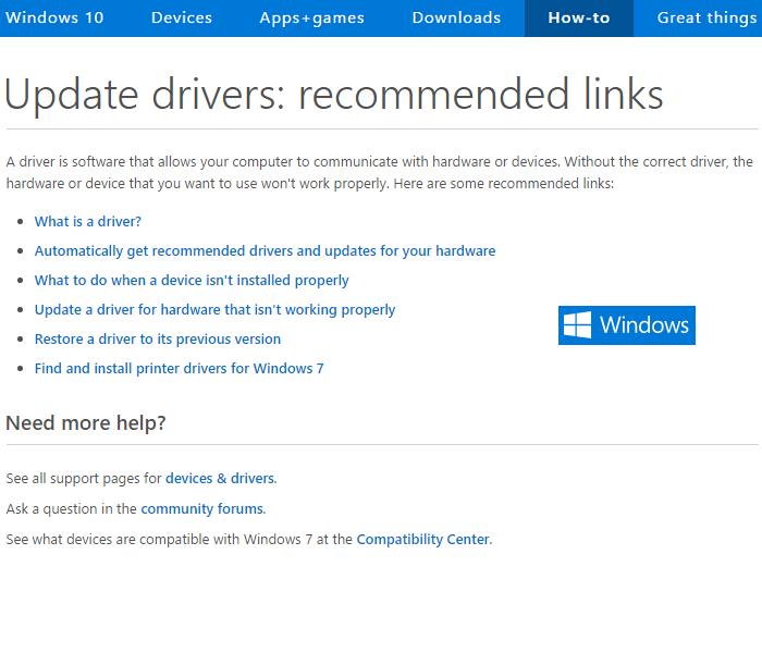 Microsoft's Update drivers webpage