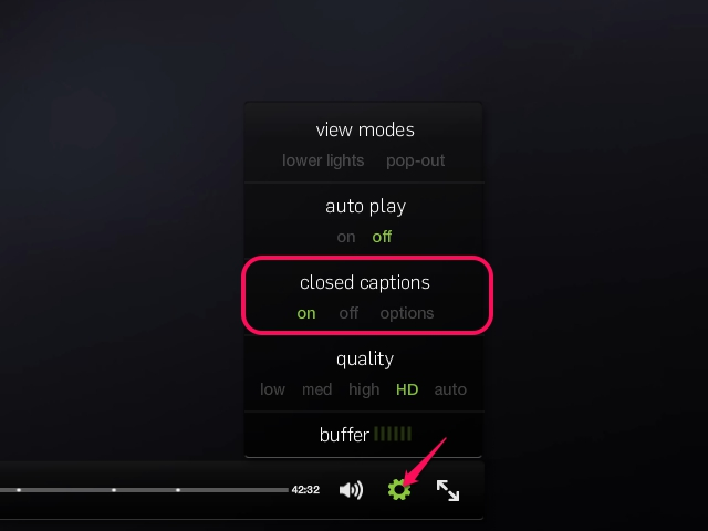 Click the gear icon then click the on option under the closed captions heading.