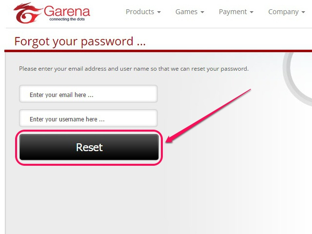 Enter account details and click Reset.