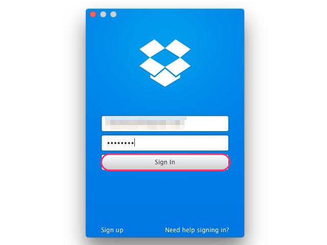 Signing in to the Dropbox for Mac app
