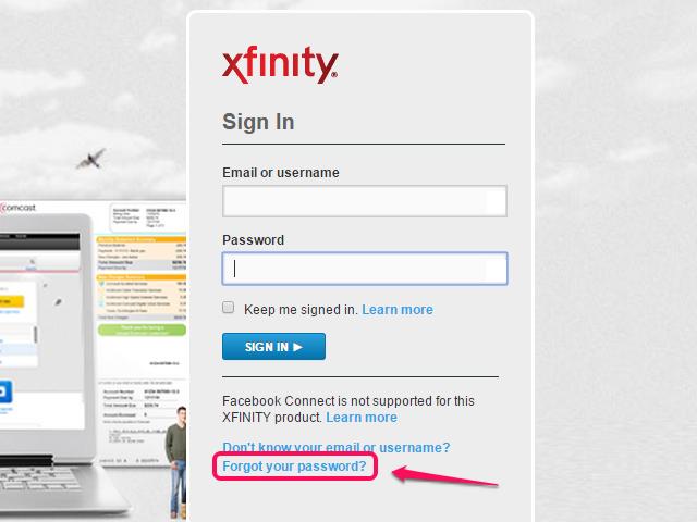 Forgot your password link