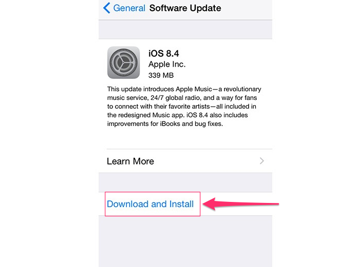 Tap Download and Install