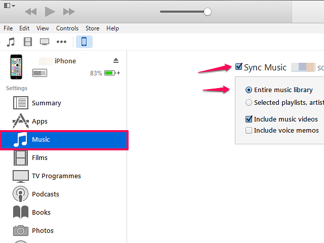 This setting transfers all the music in your iTunes library.