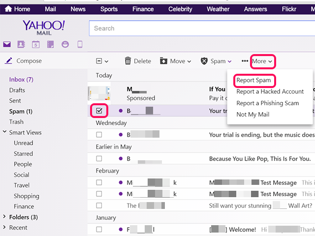 Click More and then Report Spam from Yahoo Mail.