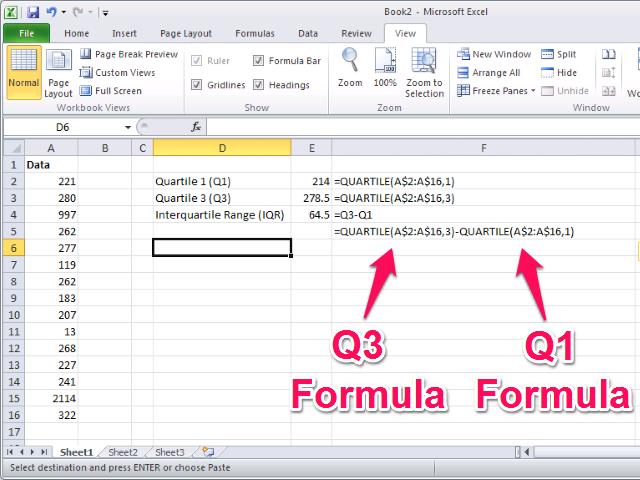 Interquartile Range (IQR) calculation.