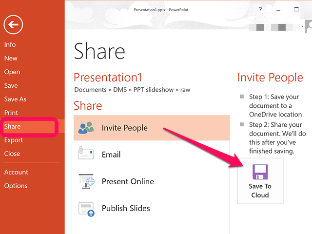 PowerPoint's Share options